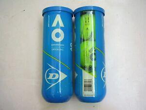 6 AUSTRALIAN OPEN OFFICIAL Dunlop Tennis Balls (2 NEW UNOPENED CANS OF 3 BALLS)