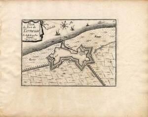 Antique Map-TERNEUZEN-NETHERLANDS-Beaulieu-1667