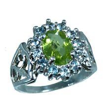 14k Peridot & Aquamarine Ring, White, Yellow, Rose G, Free Sizing, US