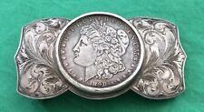 VTG Newman's Silver Reno, Nevada STERLING SILVER 1890 Morgan Dollar BELT BUCKLE