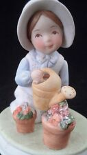 Mint Cute 1978 Holly Hobbie Simple Pleasures Gardening Porcelain Bisque Figurine