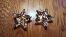 Pair of Vintage Glass Star Votive Candle Holders, Heavy Glass