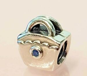 PANDORA | STERLING SILVER PURSE BAG CHARM *NEW* 790473CZB HANDBAG RETIRED BLUE