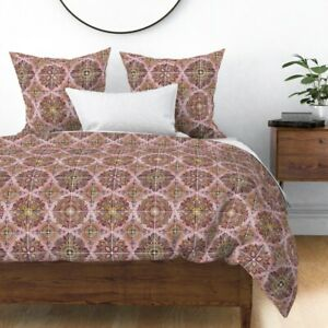 Tiles Floral Geometric Art Folk Spanish Squares Sateen Duvet Cover by Roostery
