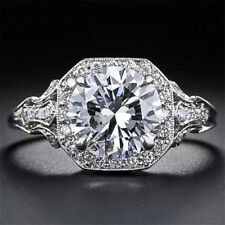 2.6CT White Topaz 925 Silver Woman Jewelry Wedding Engagement Ring Size 6-10