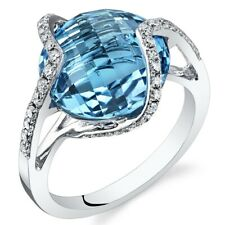 Swiss Blue Topaz Diamond Ring 14Kt White Gold Double Checkerboard Cut 9.7 Carats
