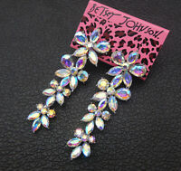 Women's AB Crystal Rhinestone Flower Betsey Johnson Stud Earrings