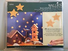 """Wallies Wall Paper Cut Outs 25 Folk Art Stars 2"""" Pre-pasted Washable"""