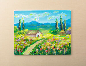 Provencal Landscape Acrylic Painting on Canvas Hand Painted by Author Nature Art