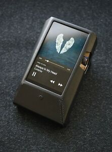 For iRiver Astell & Kern AK380 AMP Genuine Leather Case Cover FedEx - Black