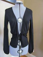 White House Black Market Black Open Cardigan Linen Blend Sweater Size Medium