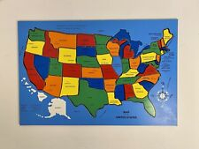 VINTAGE CONNOR TOY USA United States Wooden Map Puzzle Commercial Map COMPLETE