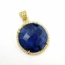 Gold plate Silver Round Bezel Blue Sapphire Dyed Gem Pave Cubic Zirconia Pendant