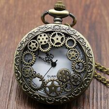 Retro Bronze chain gear Pendant Jewelry Quartz Pocket Watch Gift For Man