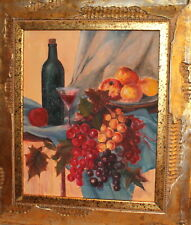 Still life with peaches, grapes and wine oil painting signed