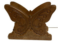 """Vintage Solid Wood Butterfly Napkin Holder 5""""Tall 6""""Wide Mid Century Modern"""