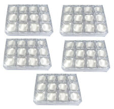 60 PCS OF CLEAR PLASTIC LENS MAGNIFIER ON TOP GEM COINS JAR JEWELRY DISPLAY BOX
