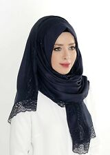 Large Plain Hijab Scarf With Lace Navy Dark Blue Made in Turkey Good Quality Eid