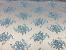 """Sky Blue Oswald Floral Wedding Gown Dress Lace Fabric - Sold By Yard - 51"""" / 52"""""""