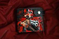 Red Dead Redemption II. Short tooled leather wallet,wallet carved