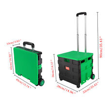Foldable Shopping Cart Trolley Portable Pack & Roll Folding Grocery Basket Crate