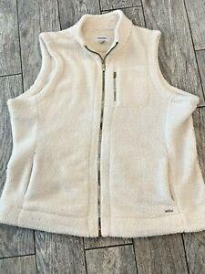 Vest Jacket CALVIN KLEIN 1X Plus Cream Sherpa Fleece Faux Fur Pockets EXC!