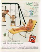 1961 7UP SEVEN UP Mom Relaxing Kids Playing On Swing Set Vtg Print Ad