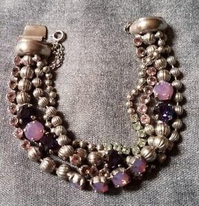 Sorrelli Multi-Strand Crystal & Corrugated Ball Chain Bracelet-BCU37ASAFV