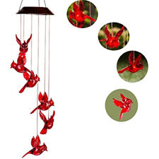 Solar Powered Led Red Cardinal Bird Wind Chime Color-Changing Sparkling Decor