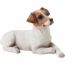 Sandicast Small Size Smooth Brown and White Jack Russell Terrier Sculpture Lying
