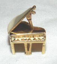 14k Yellow Gold 3D Baby Grand Piano Charm Movable