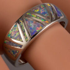 Lavender Purple Fire Opal Triangle Inlay Silver Band Ring US Size 6 7 8 9 10
