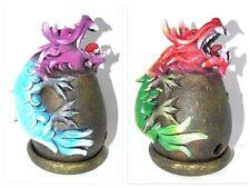 Smoking Chinese Dragon On Cauldron Incense Cone Burner Ashcatcher New Age 16cm
