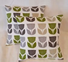 "14"" 16"" 18""Cushion Cover Lime Green Grey Cream Tulip Floral Print 100% Cotton"