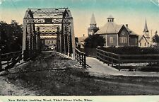 Thief River Falls Mn Dirt Rd Thru Double Span Bridge~Two or Three Churches c1914