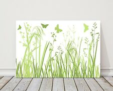 wild flowers and butterflies green &white modern printed framed canvas picture