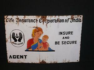 1940 ORIGINAL VINTAGE LIFE INSURANCE CORPORATION OF INDIA PORCELAIN ENAMEL SIGN