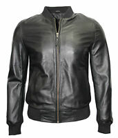 New 70'S Retro Bomber Men's Black Cool Classic Soft Italian Nappa Leather Jacket