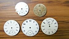 5 Vtg Pocket Watch Face Elgin Mixed Parts Or Repair As Is