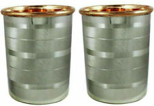 Drink ware Accessories Pure Copper & Stainless Steel Glass Cup 10 Oz Set Of 2