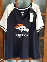 Womens Sz 1X NFL Denver Broncos V-Neck T-Shirt Majestic NEW NWT