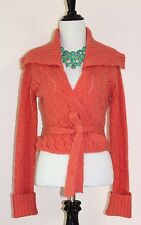 Free People Anthropologie Wrap Sweater Tie Front Cardigan M 8 Cropped Pointelle