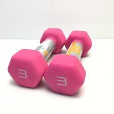 (Pink) CAP Neoprene Hex 3 Lb Dumbbell Hand Weights Pair of 2 . FAST SHIPPING.