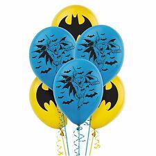 6 Batman DC Comic Superhero Birthday Party Blue Yellow Printed Latex Balloons