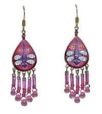 Wanderlust Purple Dragonfly Pierced Earrings *Handmade in Peru* Fuchsia & Purple