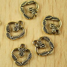30pcs dark gold-tone flower basket charms h2128