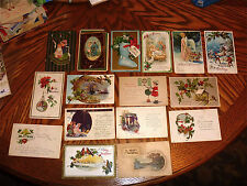 antique Christmas Postcards 17 early mid 1900s used stamped