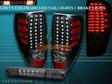 04-09 CHEVY COLORADO / GMC CANYON TAIL LIGHTS LED BLACK + LED BRAKE LIGHT SMOKE