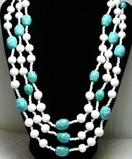 Vintage Triple Strand Milk Glass & Robins Egg Blue Glass Necklace~Fancy Clasp