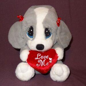 "Puppy Dog Valentines Day Love Me Gray White DanDee Plush Stuffed Animal 6"""